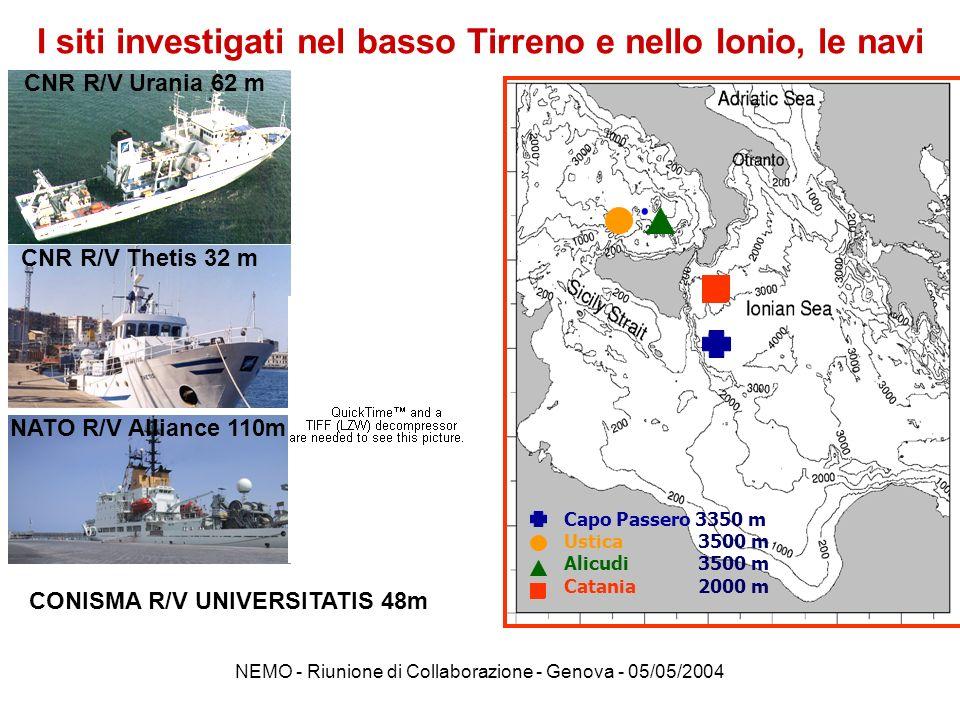 NEMO - Riunione di Collaborazione - Genova - 05/05/2004 (cm -2 sr -1 sec -1 ) AMANDA Toulon Capo Passero Methoni (cm -2 sr -1 sec -1 ) Il sito Capo Passero : profondità ~3350 m