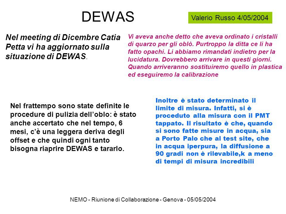 NEMO - Riunione di Collaborazione - Genova - 05/05/2004 Effetto del Biofouling Transparency =(PD/reference) t / (PD/reference) day#1 Negligible effect of fouling after 40 days Capo Passero 3200m depth Reference PD Blue LED Reference PD Blue LED 14 PDs array Lapparato per la misura del Biofouling di ANTARES è in misura nel sito di Capo Passero da marzo 2003: più di 12 mesi di acquisizione dati Lapparato di NEMO per la misura del Biofouling sta per essere ricostruito, tesi di laurea Simone Biagi