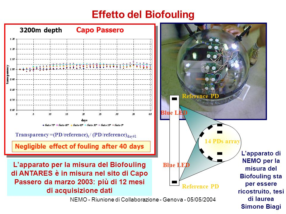 NEMO - Riunione di Collaborazione - Genova - 05/05/2004 Effetto del Biofouling Transparency =(PD/reference) t / (PD/reference) day#1 Negligible effect