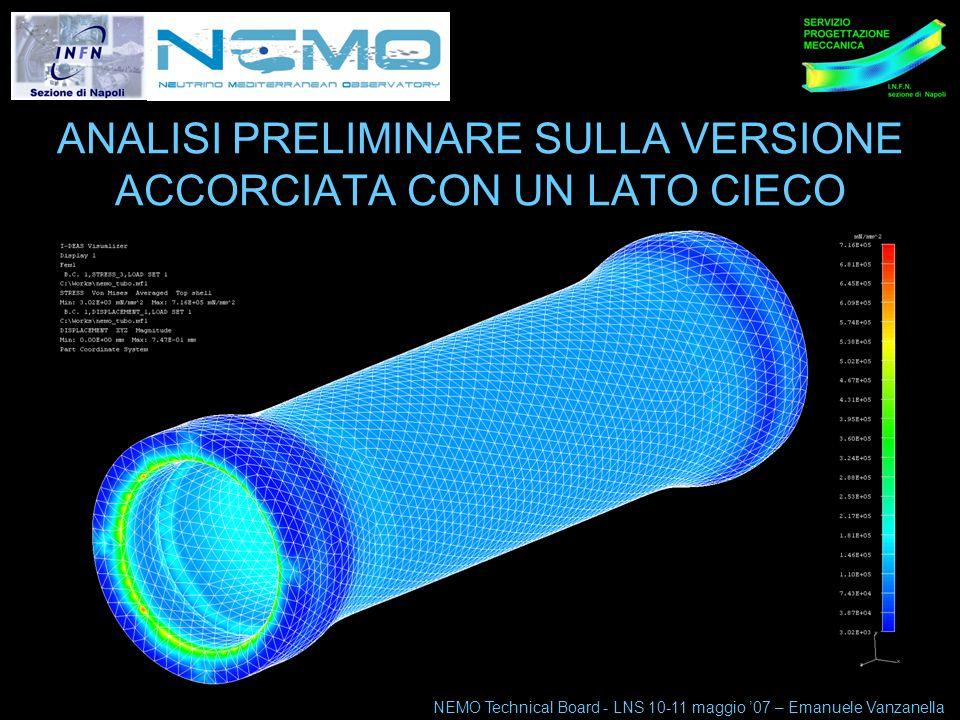 NEMO Technical Board 10-11 maggio 07 4 ANALISI PRELIMINARE SULLA VERSIONE ACCORCIATA CON UN LATO CIECO NEMO Technical Board - LNS 10-11 maggio 07 – Emanuele Vanzanella