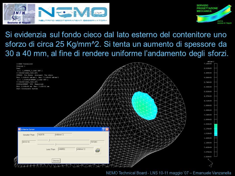 NEMO Technical Board 10-11 maggio 07 5 Si evidenzia sul fondo cieco dal lato esterno del contenitore uno sforzo di circa 25 Kg/mm^2.