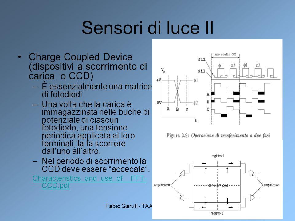 Fabio Garufi - TAADF 2005-200619 Sensori di luce II Charge Coupled Device (dispositivi a scorrimento di carica o CCD) –È essenzialmente una matrice di