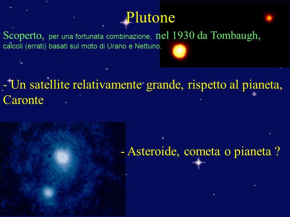 Plutone - Un satellite relativamente grande, rispetto al pianeta, Caronte - Asteroide, cometa o pianeta .