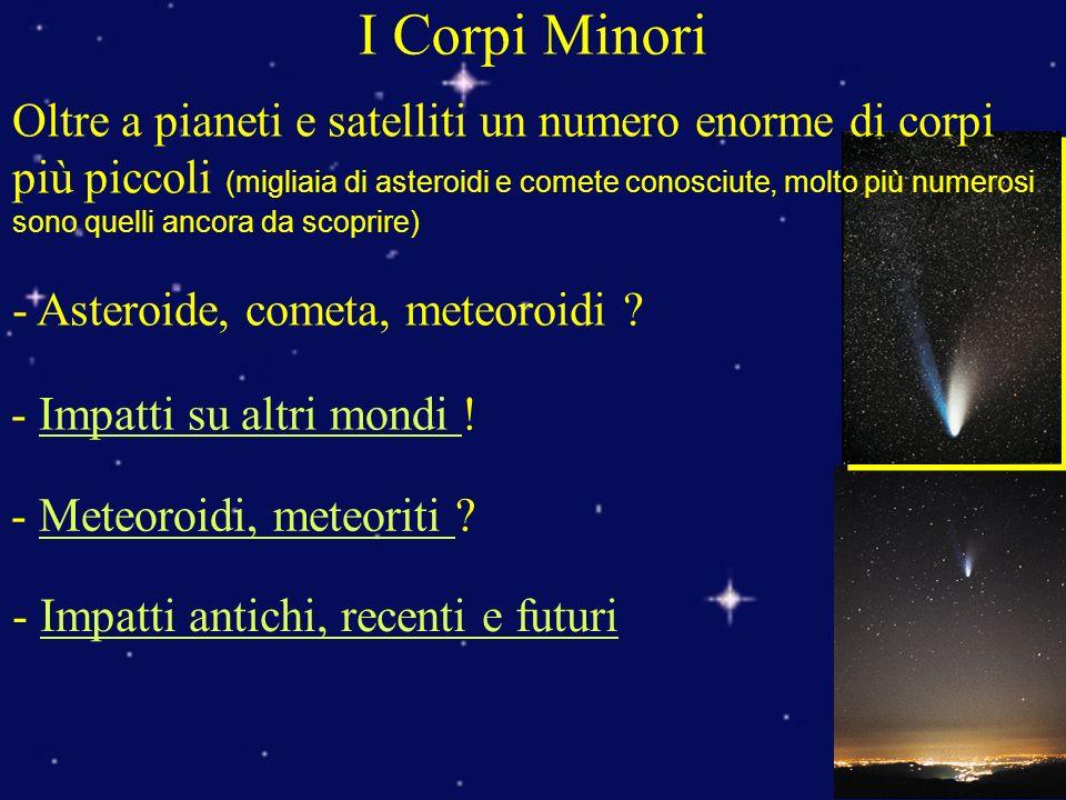 I Corpi Minori Oltre a pianeti e satelliti un numero enorme di corpi più piccoli (migliaia di asteroidi e comete conosciute, molto più numerosi sono quelli ancora da scoprire) - Asteroide, cometa, meteoroidi .