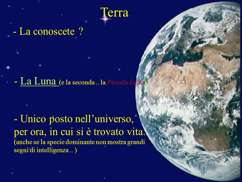 Terra - La conoscete ? - La Luna (e la seconda.. la Piccola Luna)La Luna - Unico posto nelluniverso, per ora, in cui si è trovato vita. (anche se la s
