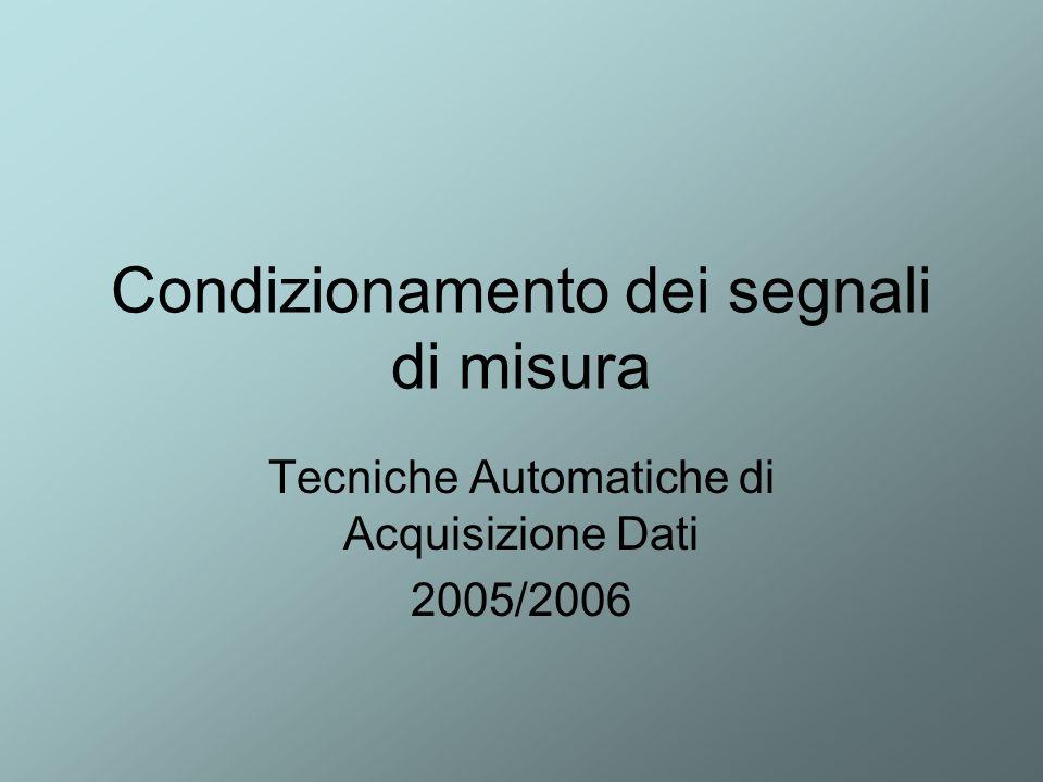 Fabio Garufi - TAADF 2005-20062 Necessità del condizionamento attenuazione di segnali troppo elevati, rettificazione e livellamento di segnali in alternata, trasformazione in tensione di segnali in corrente Adattamento di impedenza eliminazione di disturbi elettromagnetici sovrapposti al segnale utile.