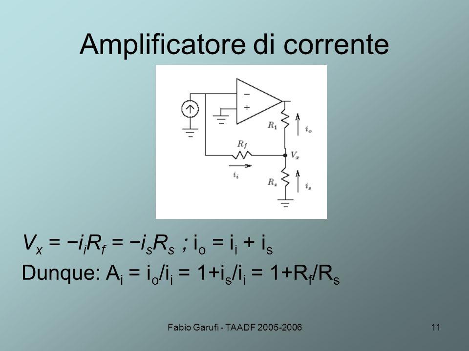 Fabio Garufi - TAADF 2005-200611 Amplificatore di corrente V x = i i R f = i s R s ; i o = i i + i s Dunque: A i = i o /i i = 1+i s /i i = 1+R f /R s