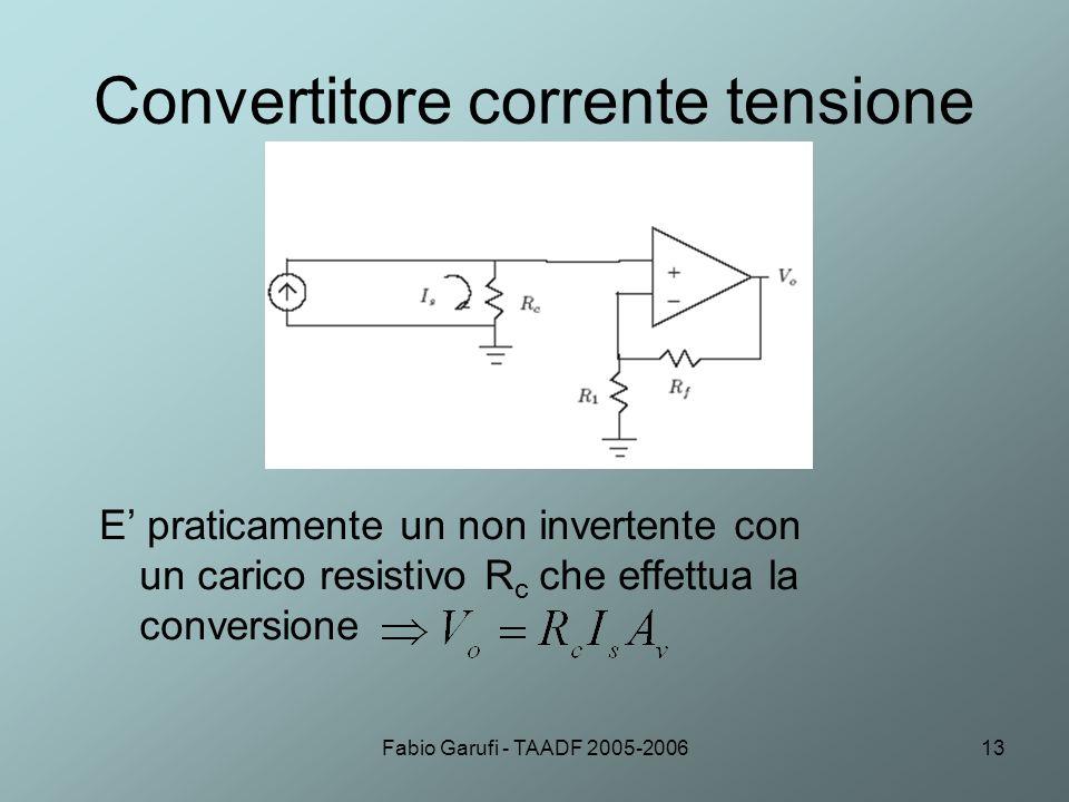 Fabio Garufi - TAADF 2005-200613 Convertitore corrente tensione E praticamente un non invertente con un carico resistivo R c che effettua la conversio