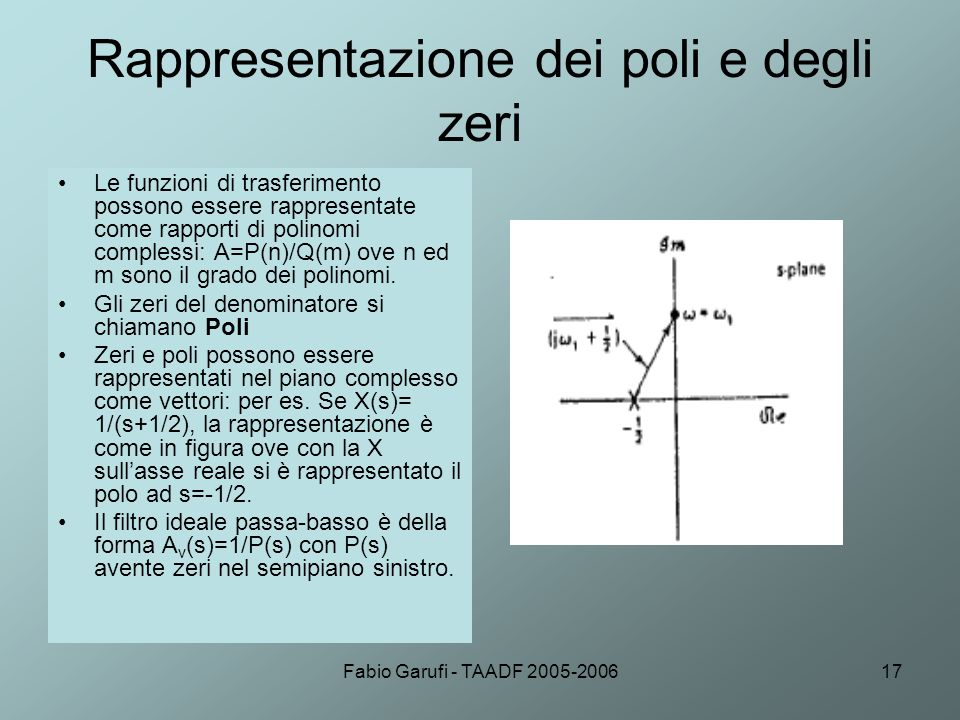 Fabio Garufi - TAADF 2005-200617 Rappresentazione dei poli e degli zeri Le funzioni di trasferimento possono essere rappresentate come rapporti di pol