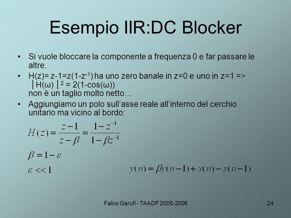 Fabio Garufi - TAADF 2005-200624 Esempio IIR:DC Blocker Si vuole bloccare la componente a frequenza 0 e far passare le altre. H(z)= z-1=z(1-z -1 ) ha