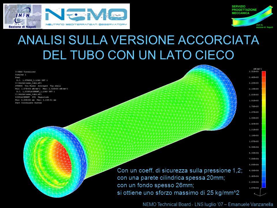 NEMO Technical Board 10-11 maggio 07 4 ANALISI SULLA VERSIONE ACCORCIATA DEL TUBO CON UN LATO CIECO NEMO Technical Board - LNS luglio 07 – Emanuele Vanzanella Con un coeff.