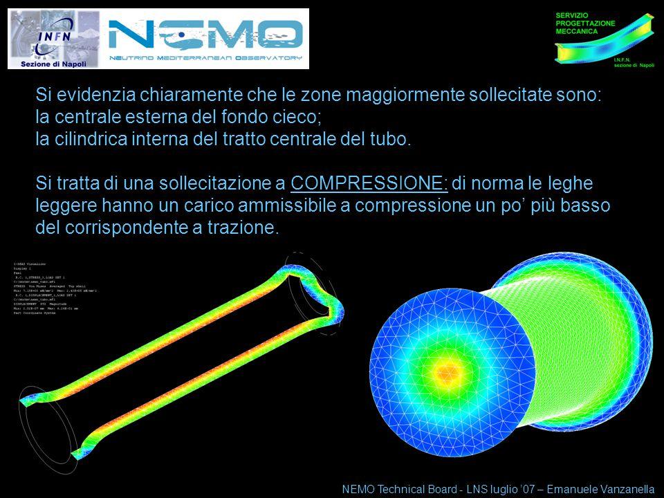 NEMO Technical Board 10-11 maggio 07 5 Si evidenzia chiaramente che le zone maggiormente sollecitate sono: la centrale esterna del fondo cieco; la cilindrica interna del tratto centrale del tubo.
