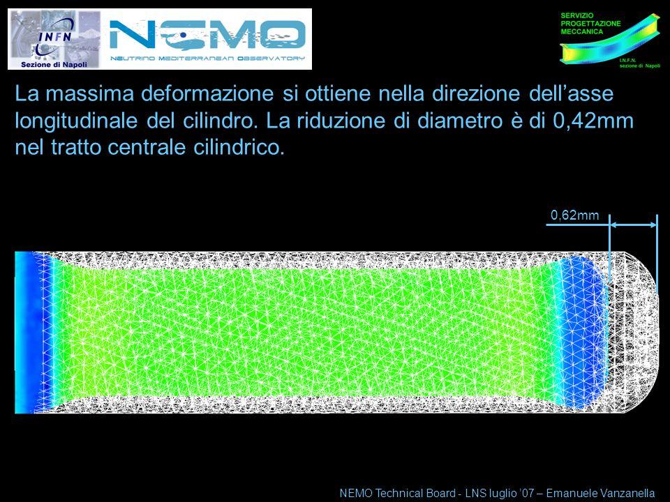 NEMO Technical Board 10-11 maggio 07 7 Le dimensioni caratteristiche del tubo sono: -130mm diametro utile interno del tubo; -600mm lunghezza interna utile del tubo; -20mm spessore parete cilindrica; -26mm spessore parete fondo cieco raccordato.