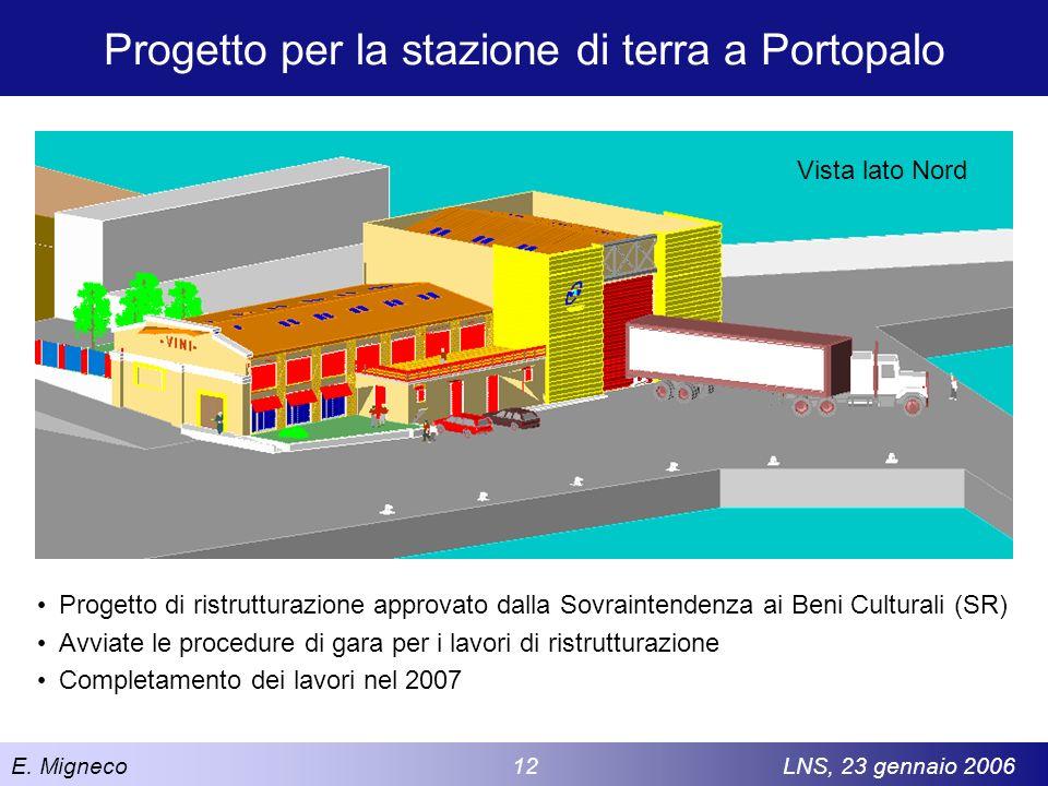 E. Migneco 12LNS, 23 gennaio 2006 Progetto per la stazione di terra a Portopalo Progetto di ristrutturazione approvato dalla Sovraintendenza ai Beni C