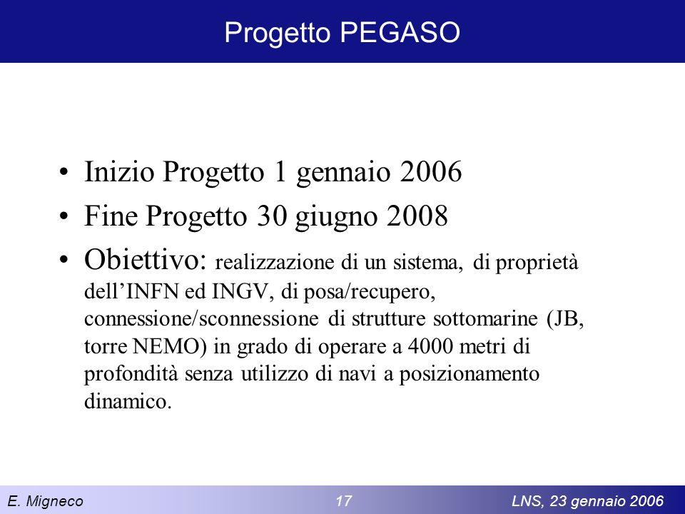 E. Migneco 17LNS, 23 gennaio 2006 Progetto PEGASO Inizio Progetto 1 gennaio 2006 Fine Progetto 30 giugno 2008 Obiettivo: realizzazione di un sistema,