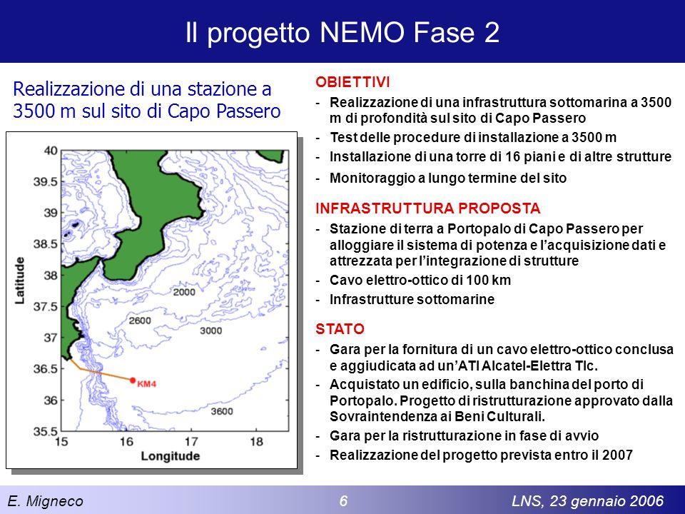 E. Migneco 6LNS, 23 gennaio 2006 Il progetto NEMO Fase 2 Realizzazione di una stazione a 3500 m sul sito di Capo Passero OBIETTIVI -Realizzazione di u