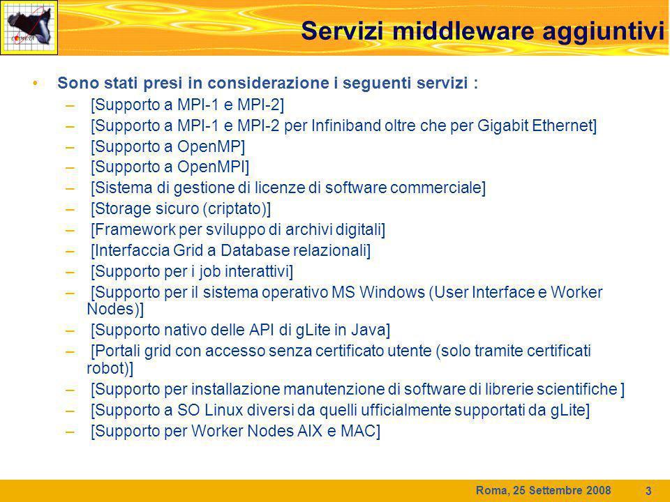 Roma, 25 Settembre 2008 3 Sono stati presi in considerazione i seguenti servizi : – [Supporto a MPI-1 e MPI-2] – [Supporto a MPI-1 e MPI-2 per Infiniband oltre che per Gigabit Ethernet] – [Supporto a OpenMP] – [Supporto a OpenMPI] – [Sistema di gestione di licenze di software commerciale] – [Storage sicuro (criptato)] – [Framework per sviluppo di archivi digitali] – [Interfaccia Grid a Database relazionali] – [Supporto per i job interattivi] – [Supporto per il sistema operativo MS Windows (User Interface e Worker Nodes)] – [Supporto nativo delle API di gLite in Java] – [Portali grid con accesso senza certificato utente (solo tramite certificati robot)] – [Supporto per installazione manutenzione di software di librerie scientifiche ] – [Supporto a SO Linux diversi da quelli ufficialmente supportati da gLite] – [Supporto per Worker Nodes AIX e MAC] Servizi middleware aggiuntivi