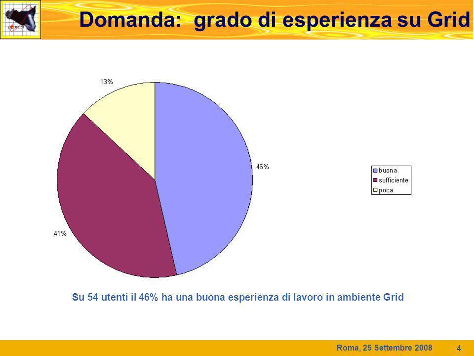 Roma, 25 Settembre 2008 4 Domanda: grado di esperienza su Grid Su 54 utenti il 46% ha una buona esperienza di lavoro in ambiente Grid