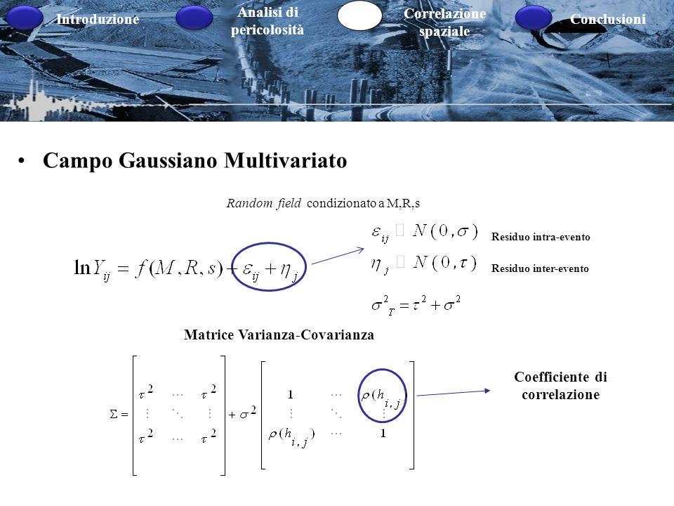 Introduzione Analisi di pericolosità Correlazione spaziale Conclusioni Campo Gaussiano Multivariato Random field condizionato a M,R,s Residuo intra-ev