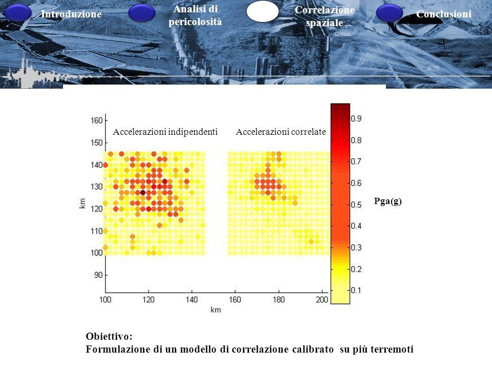 Introduzione Analisi di pericolosità Correlazione spaziale Conclusioni Accelerazioni indipendentiAccelerazioni correlate Obiettivo: Formulazione di un