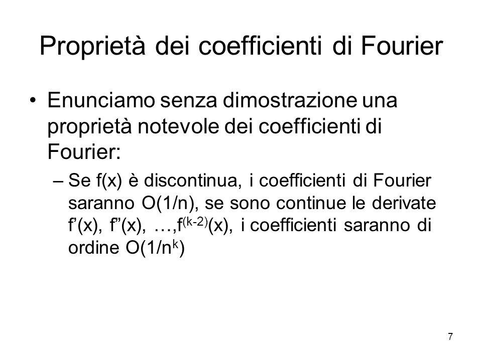 7 Proprietà dei coefficienti di Fourier Enunciamo senza dimostrazione una proprietà notevole dei coefficienti di Fourier: –Se f(x) è discontinua, i co