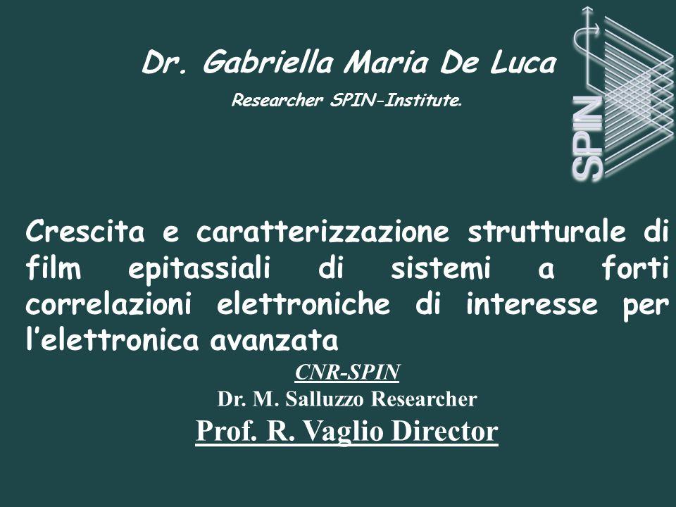Dr. Gabriella Maria De Luca Researcher SPIN-Institute. Crescita e caratterizzazione strutturale di film epitassiali di sistemi a forti correlazioni el