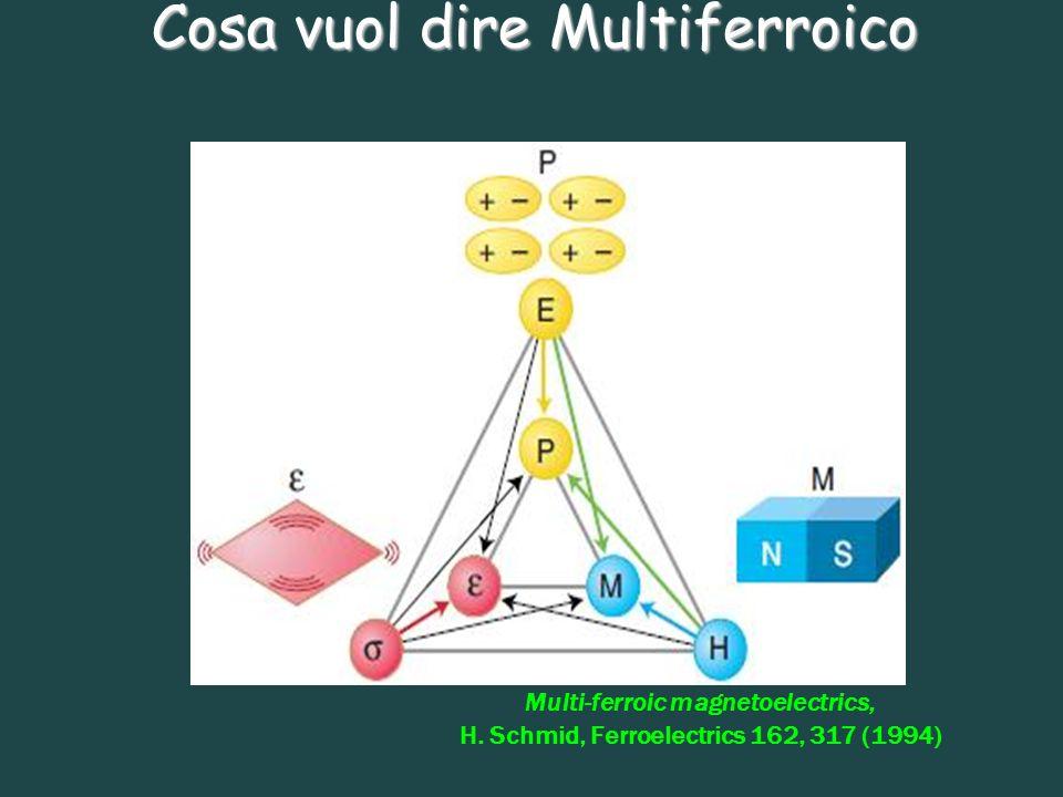 Cosa vuol dire Multiferroico Multi-ferroic magnetoelectrics, H. Schmid, Ferroelectrics 162, 317 (1994)