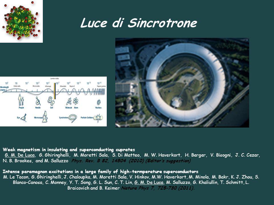 Luce di Sincrotrone Weak magnetism in insulating and superconducting cuprates G. M. De Luca, G. Ghiringhelli, M. Moretti Sala, S. Di Matteo, M. W. Hav