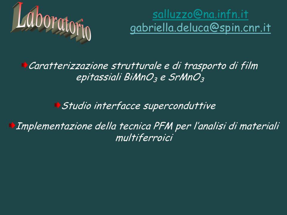 Studio interfacce superconduttive Caratterizzazione strutturale e di trasporto di film epitassiali BiMnO 3 e SrMnO 3 salluzzo@na.infn.it gabriella.del