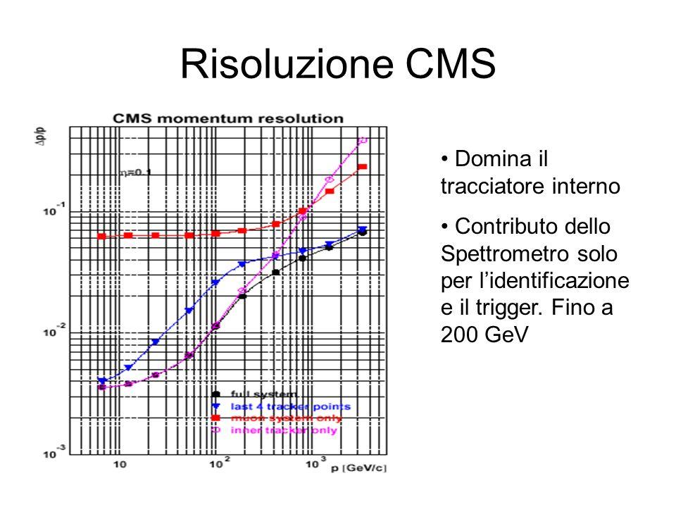 Risoluzione CMS Domina il tracciatore interno Contributo dello Spettrometro solo per lidentificazione e il trigger. Fino a 200 GeV