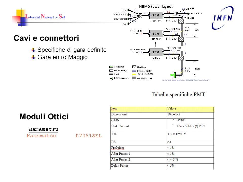Cavi e connettori Specifiche di gara definite Gara entro Maggio Moduli Ottici Hamamatsu Hamamatsu R7081SEL