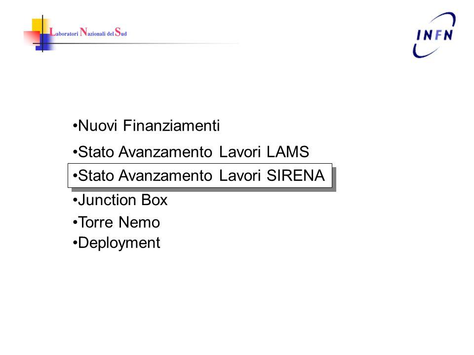 Nuovi Finanziamenti Stato Avanzamento Lavori LAMS Stato Avanzamento Lavori SIRENA Junction Box Torre Nemo Deployment