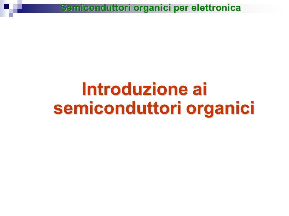 Introduzione ai semiconduttori organici Semiconduttori organici per elettronica