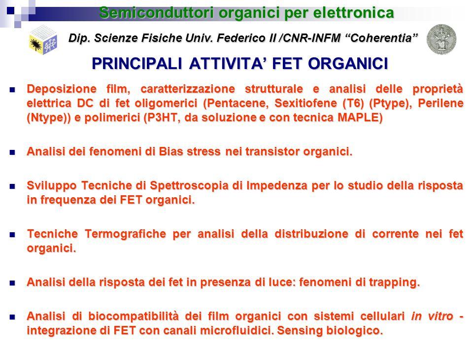PRINCIPALI ATTIVITA FET ORGANICI Deposizione film, caratterizzazione strutturale e analisi delle proprietà elettrica DC di fet oligomerici (Pentacene,