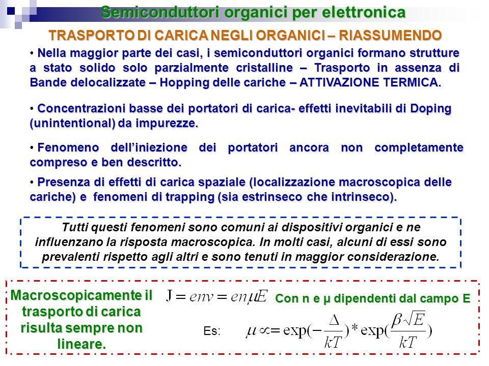 TRASPORTO DI CARICA NEGLI ORGANICI – RIASSUMENDO Nella maggior parte dei casi, i semiconduttori organici formano strutture a stato solido solo parzial