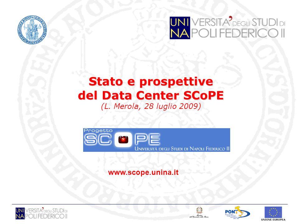 1 Stato e prospettive del Data Center SCoPE Stato e prospettive del Data Center SCoPE (L. Merola, 28 luglio 2009) www.scope.unina.it