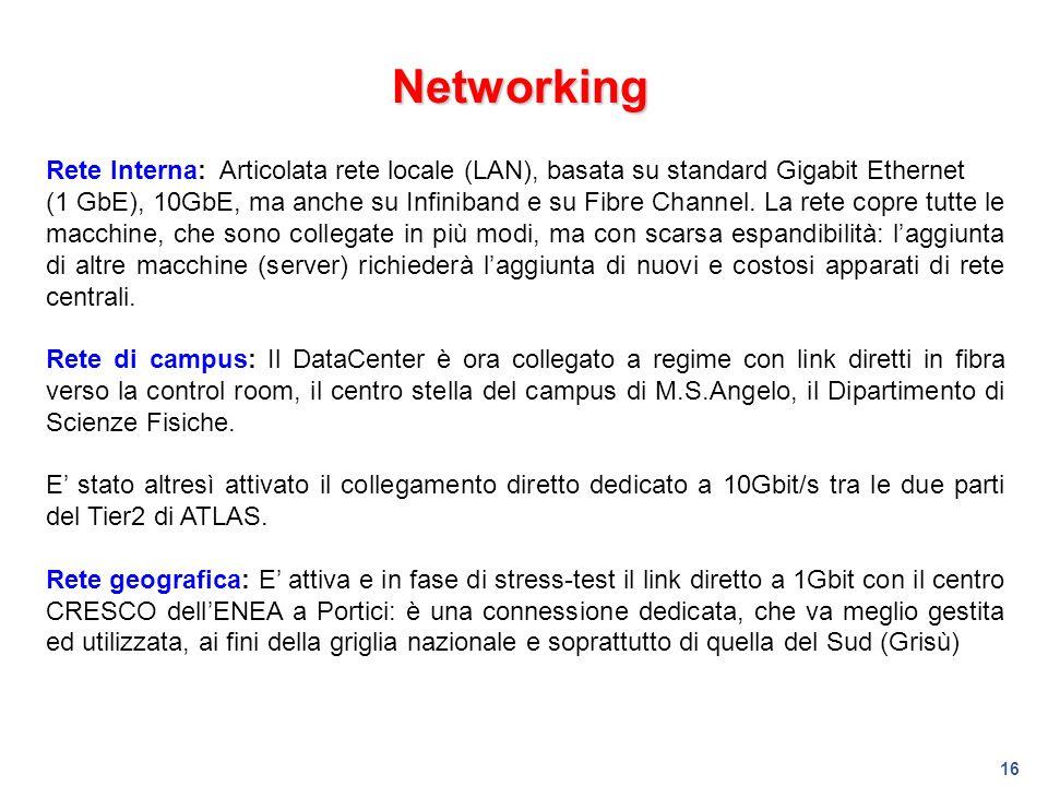 16 Networking Rete Interna: Articolata rete locale (LAN), basata su standard Gigabit Ethernet (1 GbE), 10GbE, ma anche su Infiniband e su Fibre Channe