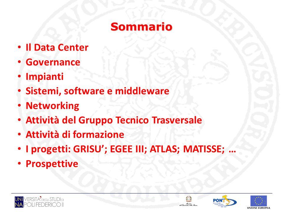 2 Sommario Il Data Center Governance Impianti Sistemi, software e middleware Networking Attività del Gruppo Tecnico Trasversale Attività di formazione