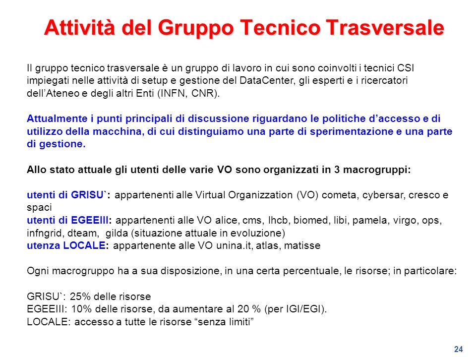 24 Attività del Gruppo Tecnico Trasversale Il gruppo tecnico trasversale è un gruppo di lavoro in cui sono coinvolti i tecnici CSI impiegati nelle att