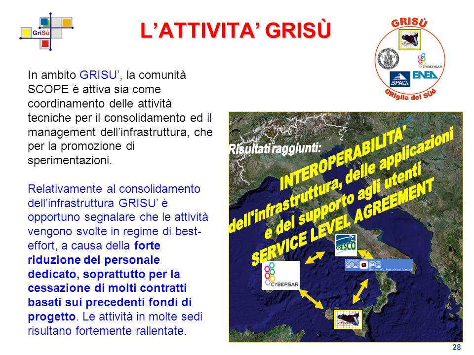 28 LATTIVITA GRISÙ In ambito GRISU, la comunità SCOPE è attiva sia come coordinamento delle attività tecniche per il consolidamento ed il management d