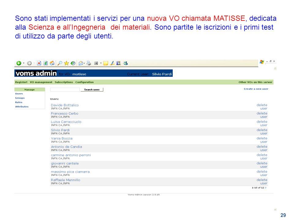29 Sono stati implementati i servizi per una nuova VO chiamata MATISSE, dedicata alla Scienza e allIngegneria dei materiali. Sono partite le iscrizion
