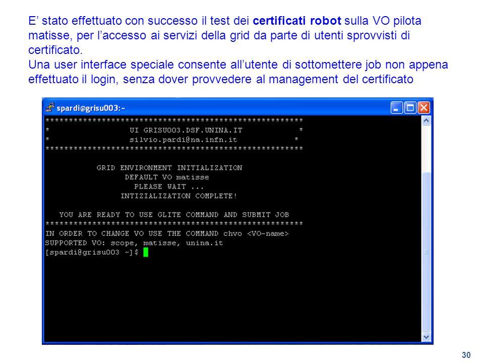 30 E stato effettuato con successo il test dei certificati robot sulla VO pilota matisse, per laccesso ai servizi della grid da parte di utenti sprovv