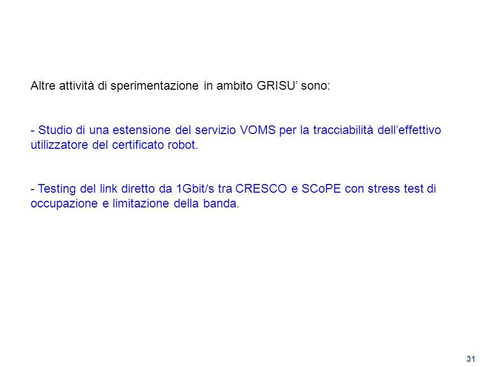 31 Altre attività di sperimentazione in ambito GRISU sono: - Studio di una estensione del servizio VOMS per la tracciabilità delleffettivo utilizzator