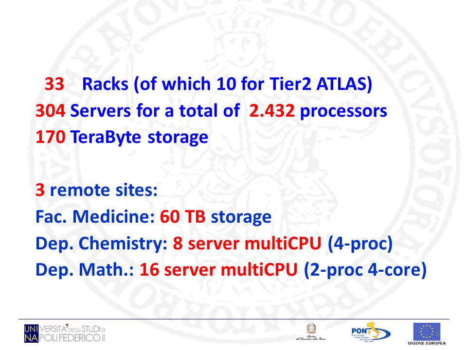 4 33 Racks (of which 10 for Tier2 ATLAS) 304 Servers for a total of 2.432 processors 170 TeraByte storage 3 remote sites: Fac. Medicine: 60 TB storage