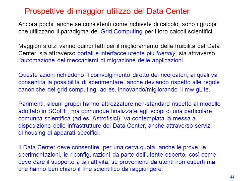 44 Prospettive di maggior utilizzo del Data Center Ancora pochi, anche se consistenti come richieste di calcolo, sono i gruppi che utilizzano il parad