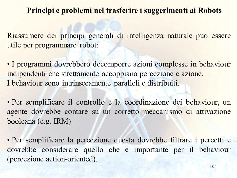 104 Principi e problemi nel trasferire i suggerimenti ai Robots Riassumere dei principi generali di intelligenza naturale può essere utile per program