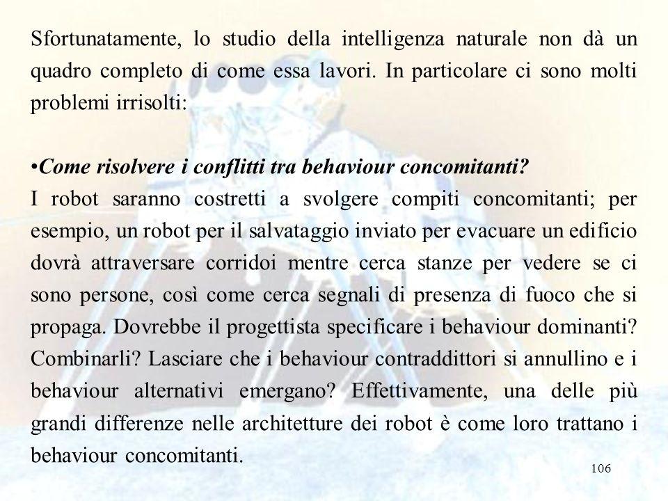 106 Sfortunatamente, lo studio della intelligenza naturale non dà un quadro completo di come essa lavori. In particolare ci sono molti problemi irriso