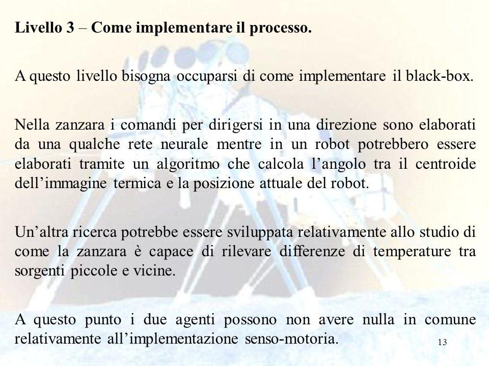 13 Livello 3 – Come implementare il processo. A questo livello bisogna occuparsi di come implementare il black-box. Nella zanzara i comandi per dirige