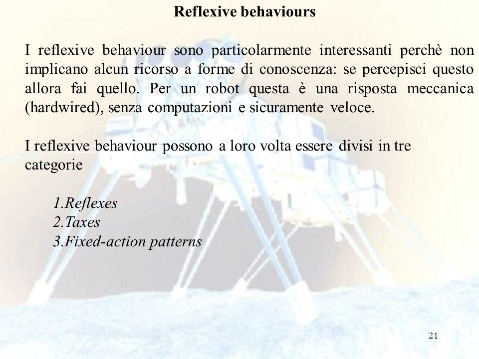 21 Reflexive behaviours I reflexive behaviour sono particolarmente interessanti perchè non implicano alcun ricorso a forme di conoscenza: se percepisc