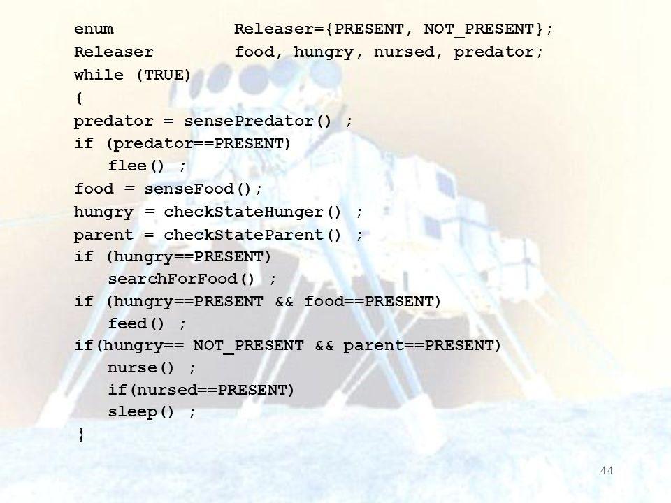 44 enum Releaser={PRESENT, NOT_PRESENT}; Releaser food, hungry, nursed, predator; while (TRUE) { predator = sensePredator() ; if (predator==PRESENT) f
